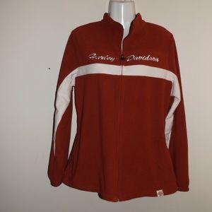 Harley Davidson Red Fleece Zip Up Jacket L